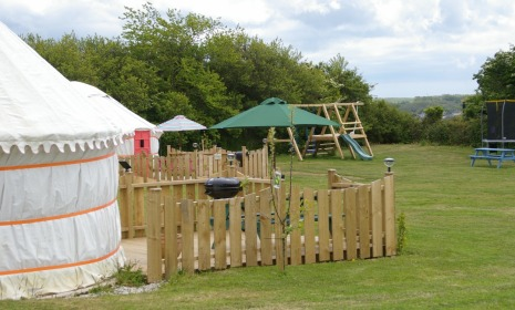 Orchid Yurt overlooking the play area